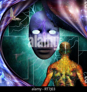 Surrealism. Mystic mask with lightnings. Man with weird demonic eyes on skin. - Stock Photo