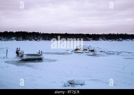 Winter landscape in the Stockholm Archipelago, Sweden - Stock Photo