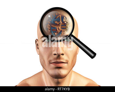 Viewing gears in mans head - Stock Photo