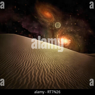 Surreal painting. Sand dune, bright galaxies in the starry sky, moon. - Stock Photo