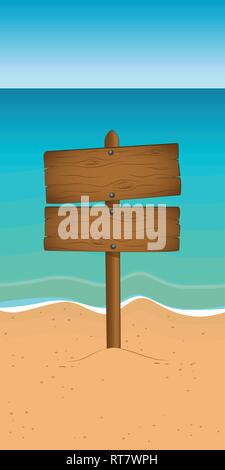 wooden sign on the beach with copy space summer vacation vector illustration EPS10 - Stock Photo