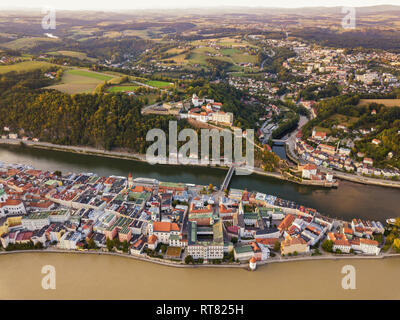Germany, Bavaria, Passau, City of three rivers, Aerial view, Danube and Inn river, Veste Oberhaus - Stock Photo