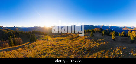 Germany, Bavaria, Bavarian Alps, Lenggries, Isarwinkel, view from high alp at sunrise, aerial view with drone - Stock Photo