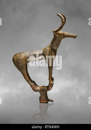 Bronze Age Hattian ceremonial bull statuette in bronze from a possible Bronze Age Royal grave L (2500 BC to 2250 BC) - Alacahoyuk - Museum of Anatolia - Stock Photo
