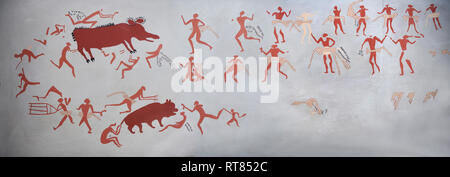 Recontructed fresco of an original found at Catalhoyuk depicting two animals being hunted. The men are wearing what scolars believe were leopard skin  - Stock Photo