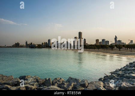 Arabia, Kuwait, Kuwait City, Persian Gulf, beach in the evening light - Stock Photo