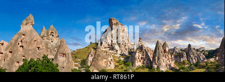Pictures & images of Uchisar Castle the cave city houses in the fairy chimney of Uchisar, near Goreme, Cappadocia, Nevsehir, Turkey - Stock Photo