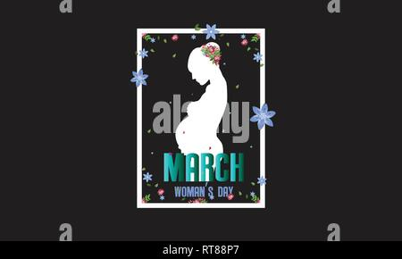 International Happy Women's Day. Silhouette of the pregnant woman 8 March holiday background. frame of flower and leaves. - Stock Photo