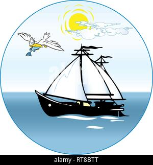 In the illustration, a cartoon ship sailing boat goes into the sea, a large bird flies nearby with prey - Stock Photo