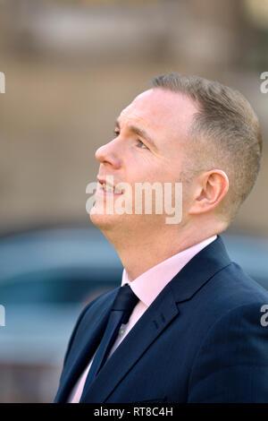 Chris Hazzard MP (Sinn Féin: South Down) interviewed on College Green, Westminster, Feb 2019 - Stock Photo