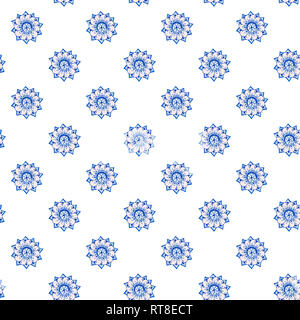 Fractal flowers hand-drawn pattern of stylized flowers in cornflower and cerulean blue colors. illustration. on white background. - Stock Photo