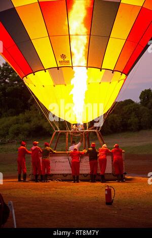 Pilot inflating balloon at dawn, Governors Camp, Masai Mara, Kenya