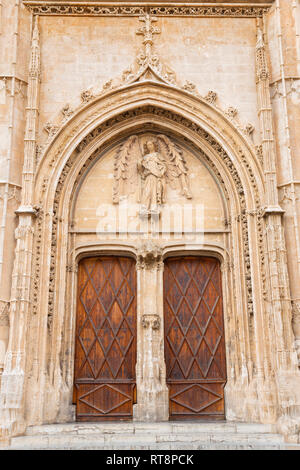 PALMA DE MALLORCA, SPAIN - JANUARY 29, 2019: The portal of La Lonja palace constructed by Guillem Sagrera (1420 - 1452) with the guardian angel statue - Stock Photo