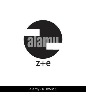 abstract letter ze circle geometric logo vector - Stock Photo