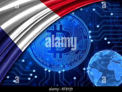 Flag of France is shown against the background of crypto currency bitcoin. Global world crypto currency-bitcoin. Shows the current exchange rate, fluc - Stock Photo