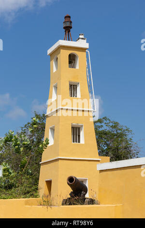 Historic lighthouse, Fort Oranje, Plaza Wilhelmina, Kralendijk, Bonaire, ABC Islands, Leeward Antilles, Caribbean - Stock Photo