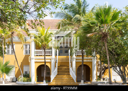 The historic Bestuurkantoor building (Government offices), Plaza Wilhelmina, Kralendijk, Bonaire, ABC Islands, Leeward Antilles, Caribbean - Stock Photo