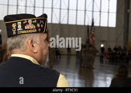 Walt Cusack Jr., commander, American Legion Post 29, Marietta, Ga., attends the Georgia Adjutant General change of command ceremony at the Clay National Guard Center, Marietta, Ga.     U.S. Army - Stock Photo