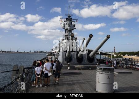 The USS Missouri battleship is set up for visitors for the