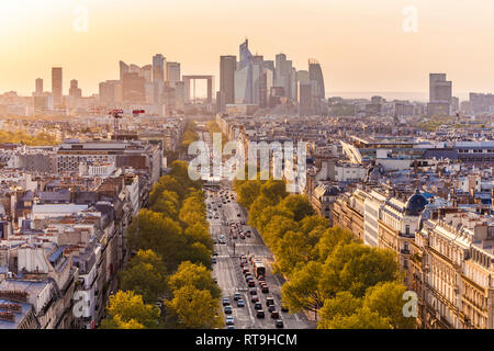 France, Paris, cityscape with Avenue de la Grande Armee and La Defense