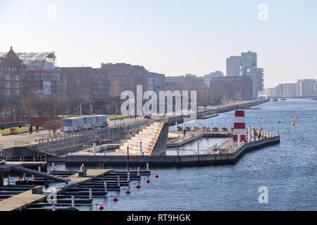 Islands Brygge Harbour Bath in Copenhagen - Stock Photo