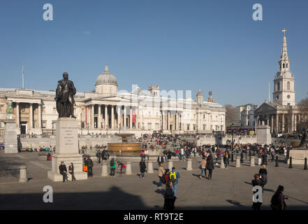 Trafalgar Square in Westminster, on 27th February 2019, in London, England. - Stock Photo