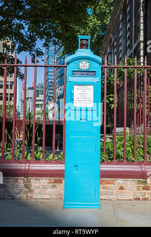 A disused Police Public Call Post near Aldgate in London, England. - Stock Photo