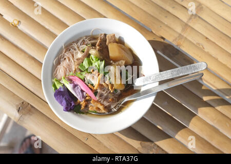 Rice noodle soup with mushroom . - Stock Photo