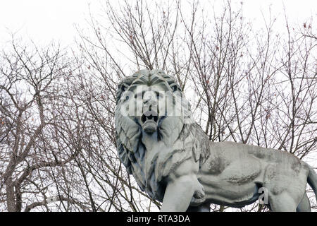 Lions Statue at the entrance of the Royal park in Brussels Belgium - Stock Photo