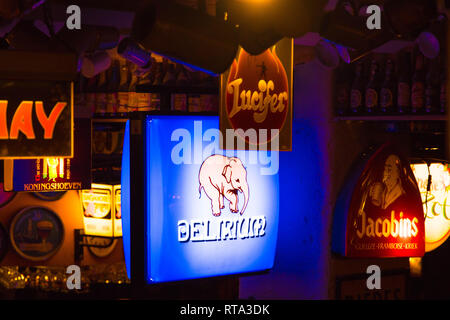 Delirium  Bar cafe in Brussels - Stock Photo