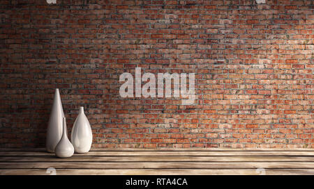 3d rendering illustration of big modern room with old red brick wall and set of white vases on wooden parquet floor. Loft interior with bright sunligh - Stock Photo