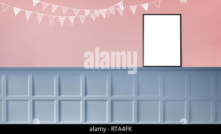 3d rendering illustration of sweet room preparing for party, baby showers, girl birthday. Nice chalk sketches of flags decoration on pink wall. Sunny  - Stock Photo