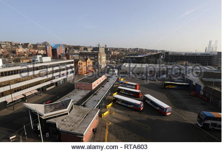 Elevated view of Seagate Bus Station Dundee Scotland  February 2019 - Stock Photo