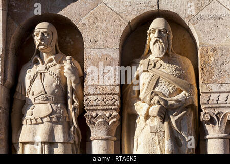 Statues decorating Fisherman bastion in Budapest, Hungary - Stock Photo