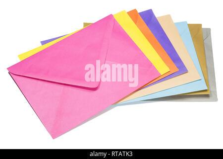 Colorful envelopes isolated on white background - Stock Photo