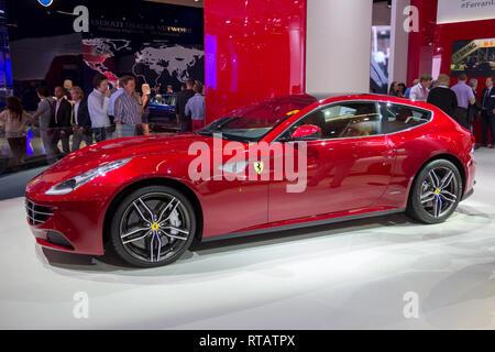 FRANKFURT, GERMANY - SEP 13, 2013:  Ferrari FF on display at the Frankfurt IAA motor show. - Stock Photo