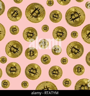 Bitcoin coins on pink background. Bitcoin mining concept - Stock Photo