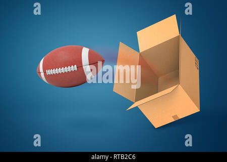 3d rendering of american football ball flying out of carton box on blue background - Stock Photo
