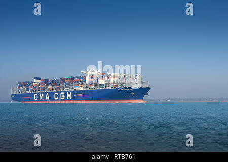 The 400 metre, Ultra-Large Container Ship, CMA CGM LOUIS BLERIOT, Departing The Port Of Southampton, UK, En Route To Dunkerque, France. - Stock Photo