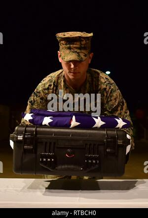 U.S. Marine Corps Sgt. Austin Blocker, a member of the Defense POW/MIA Accounting Agency (DPAA), carries a case containing possible remains of unidentified service members during an honorable carry at Joint Base Pearl Harbor-Hickam, Hawaii, Feb. 3, 2019. The remains, recently repatriated from Papua New Guinea, will be examined by forensic anthropolists and odontologists at DPAA's skeletal laboratory, where the process of identification will begin. DPAA's mission is to provide the fullest possile accounting for our missing personnel to their families and the nation - Stock Photo