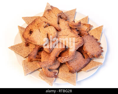 Freshly baked ginger cookies in a plate - Stock Photo