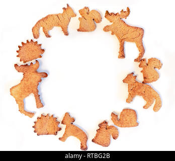 Decorative frame, ornament made from ginger cookies - Stock Photo