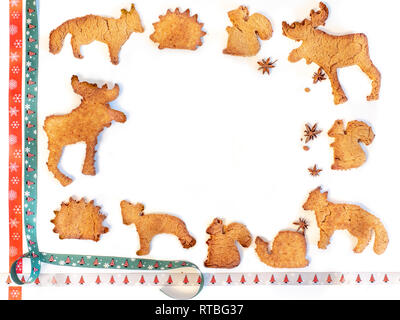 Decorative frame, ginger biscuit ornament with badian seeds - Stock Photo