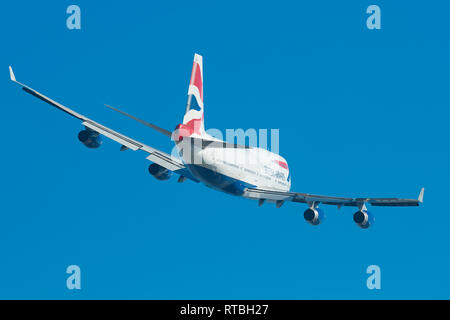 A British Airways Boeing 747-400 Banks As It Climbs Away From London's Heathrow Airport, UK. - Stock Photo