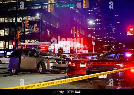 Car accident scene, night, Vancouver, British Columbia, Canada - Stock Photo