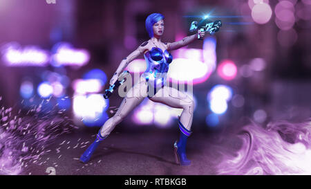 Cyborg girl armed with guns, female battle robot shooting, sci-fi android woman in the night city, 3D rendering - Stock Photo