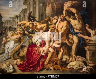 The painting Massacre of the Innocents / De kindermoord te Bethelehem by Flemish painter Peter Paul Rubens - Stock Photo