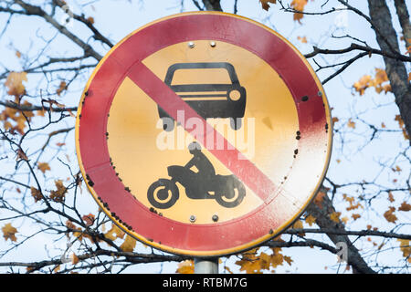 European round traffic sign, the passage of vehicles and motorcycles prohibited. - Stock Photo