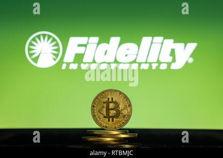 Bitcoin on a stack of coins with Fidelity logo on a laptop screen. Cryptocurrency and blockchain adoption getting mainstream. Slovenia - 02 24 2019 - Stock Photo