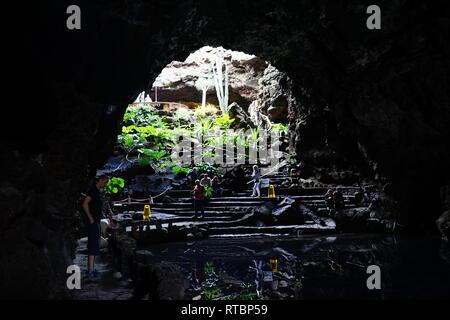 Jameos del Agua, im Lavafeld des Monte Corona, geschaffen von César Manrique, Lanzarote, Kanarische Inseln, Spanien - Stock Photo